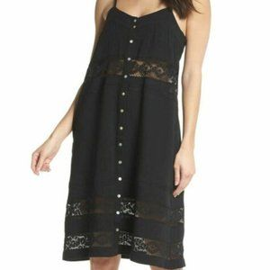 NWT knot sisters Annie black lace inset dress S